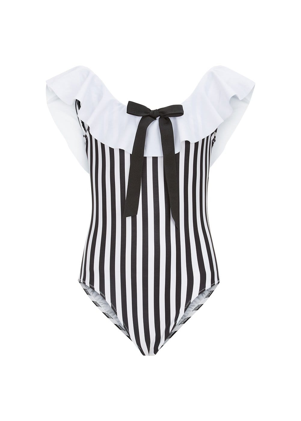 cca64036e94937 Girls Striped Off The Shoulder Swimsuit-Front