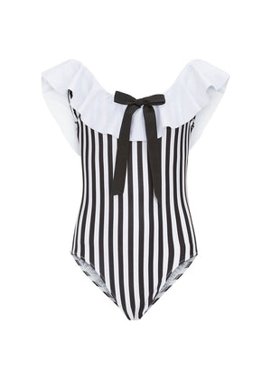Stella Cove Striped Off-The-Shoulder Swimsuit