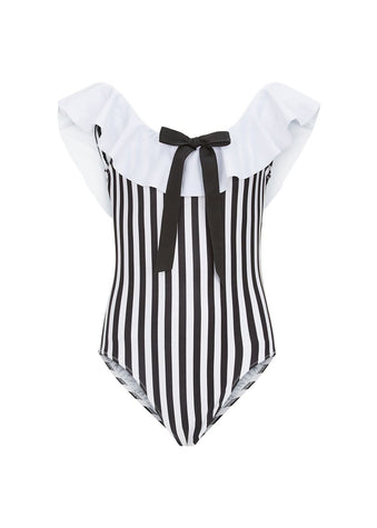 Girls Striped Off The Shoulder Swimsuit-Front