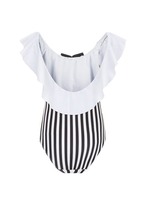 Girls Striped Off The Shoulder Swimsuit-Back