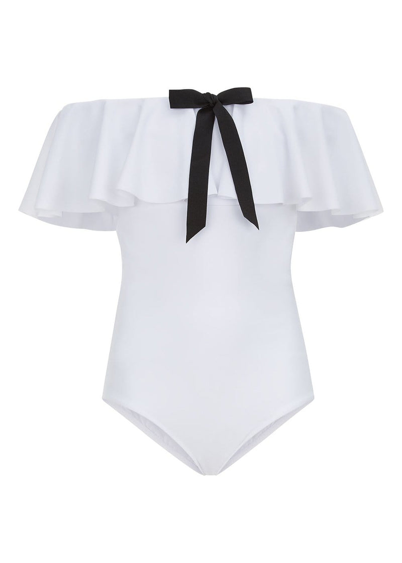 Girls White Off-Shoulder Swimsuit-Front