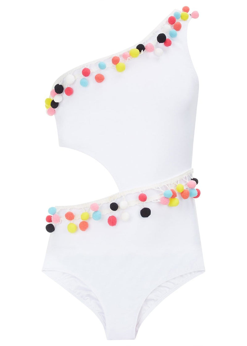 Girls White One Shoulder Cut-Out Swimsuit with Pom Poms-Front
