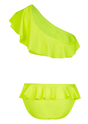 One Shoulder Ruffle Bikini - Back