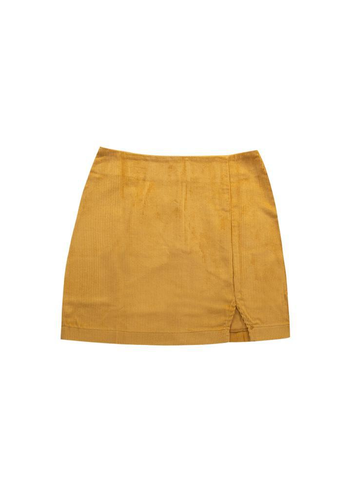 Girls Yellow Corduroy Slit Skirt
