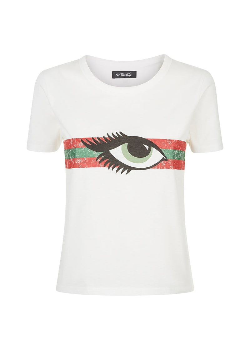 Youth Girls White Eye Graphic T-shirt