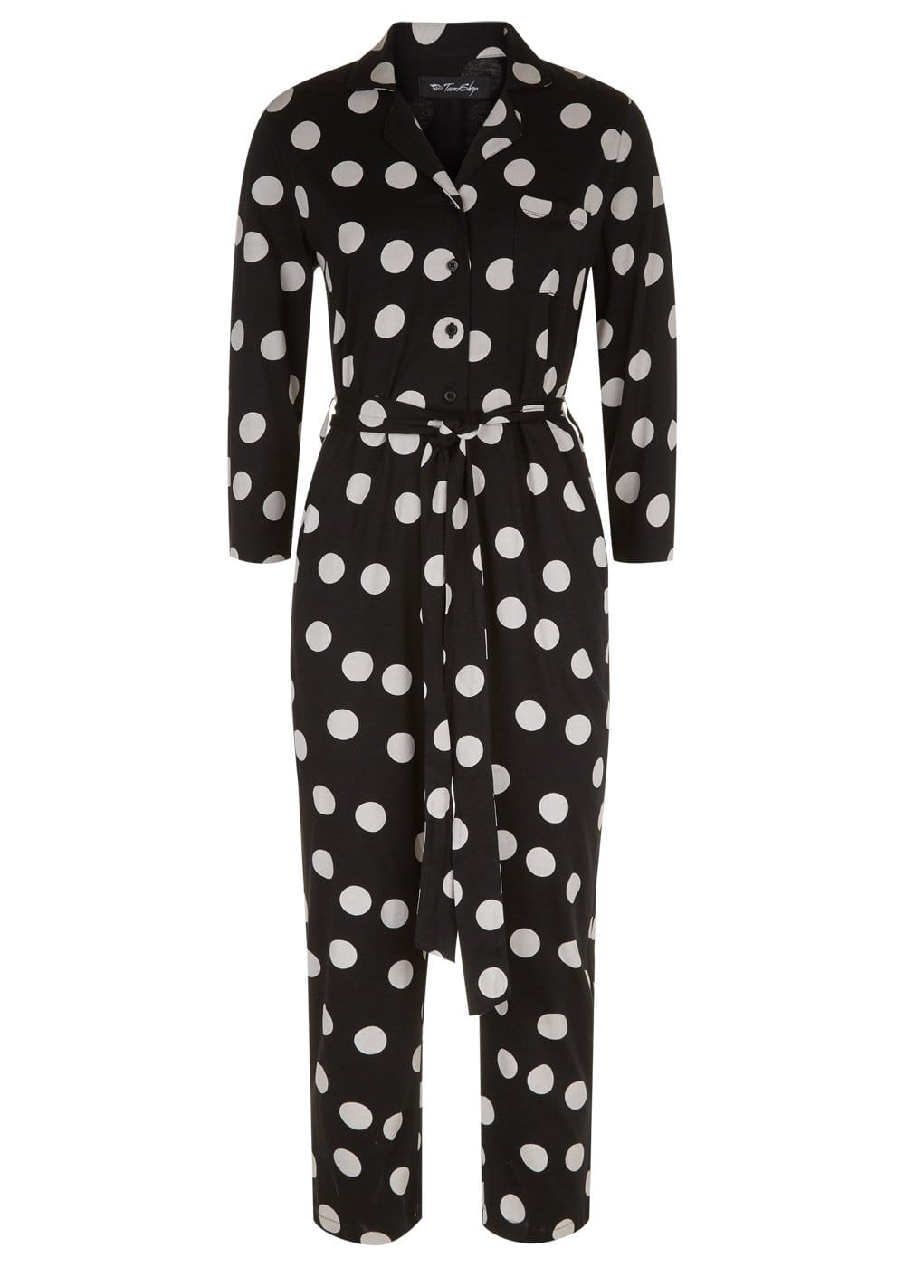 Girls Black Cotton Polka Boilersuit - Front