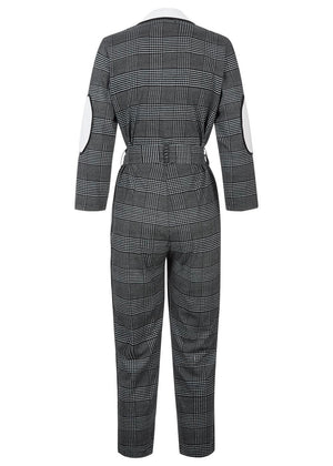 Girls Black & White Checker Boiler Suit With Contrast Stripe-TeenzShop