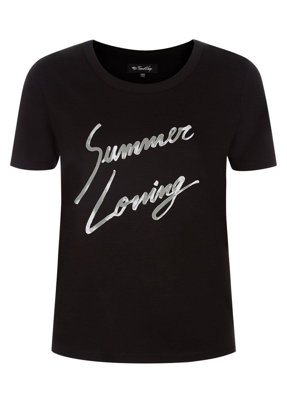 Teenzshop Youth Girls Black Summer Loving Slogan T-shirt