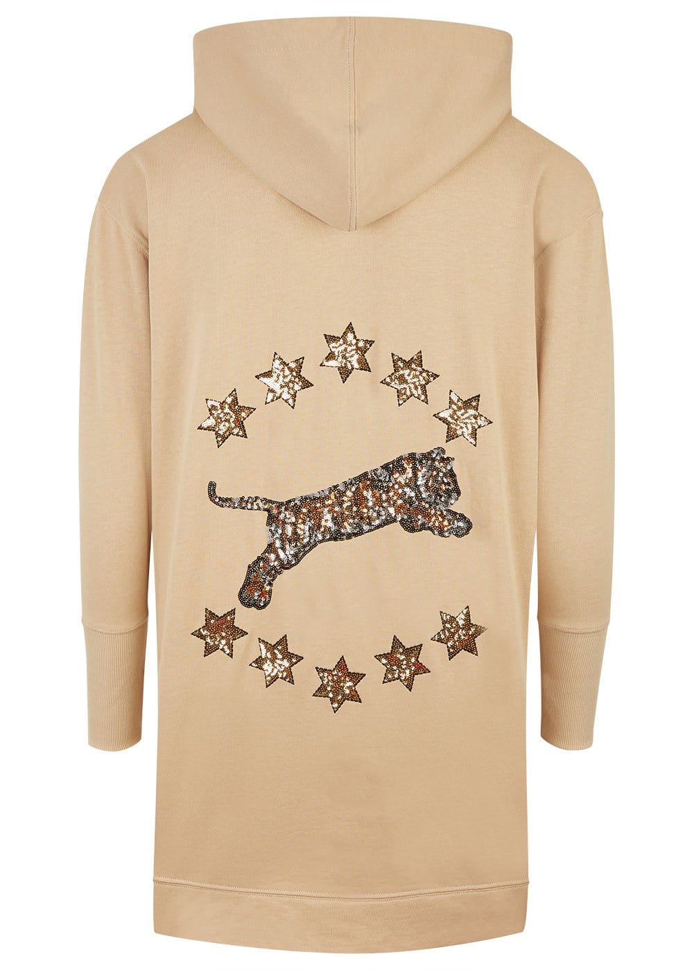 Girls Camel Longline Embellished Hoodie - Back