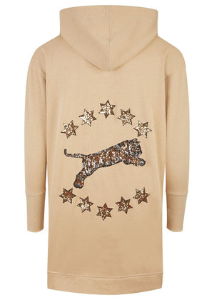 Teenzshop Youth Girls Gold Stars And Tiger Embellished Hoodie
