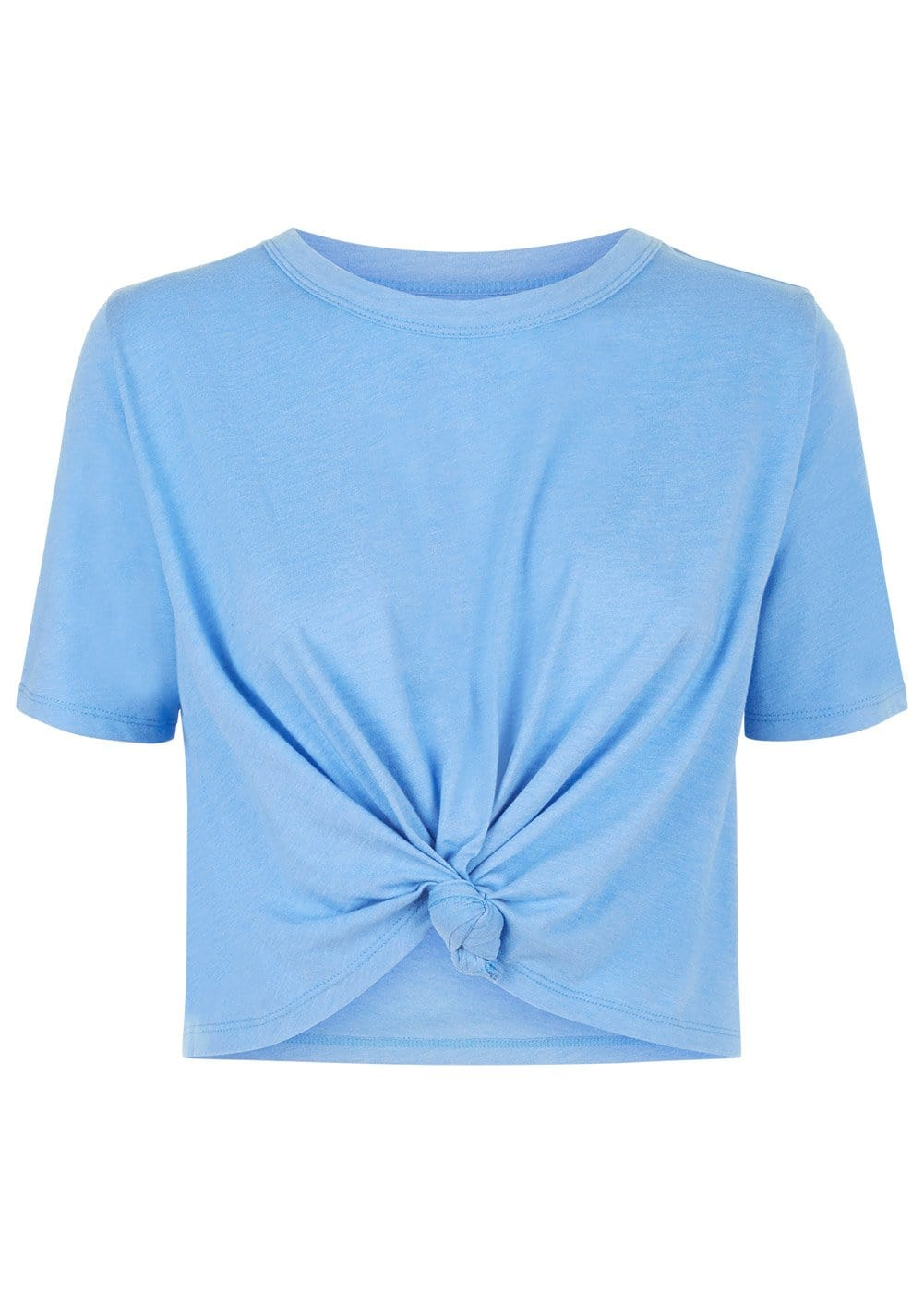 TeenzShop Youth Girls Blue Cropped T-shirt With Front Knot
