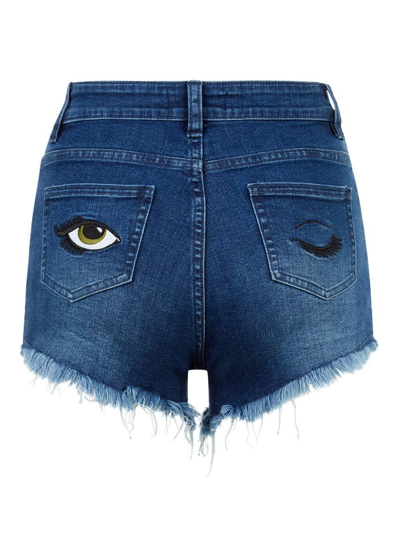 TeenzShop Youth Girls Blue Stretch Denim Shorts With Embroidered Eyes