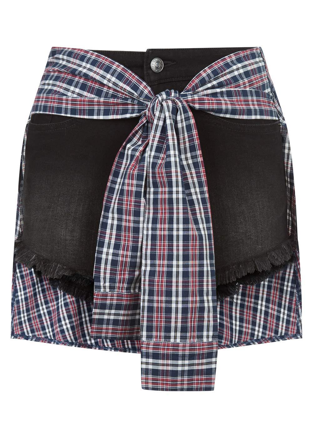 Girls Black Denim Shorts with Shirt Wrap - Front
