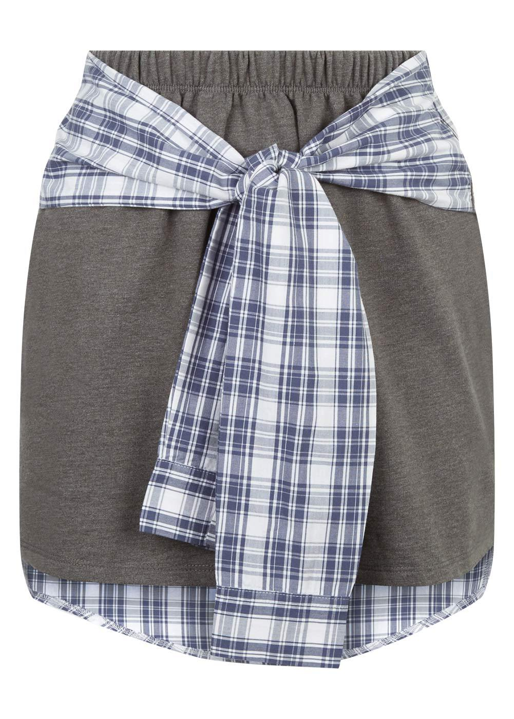 Girls Grey Sweat Skirt With Shirt Wrap - Front