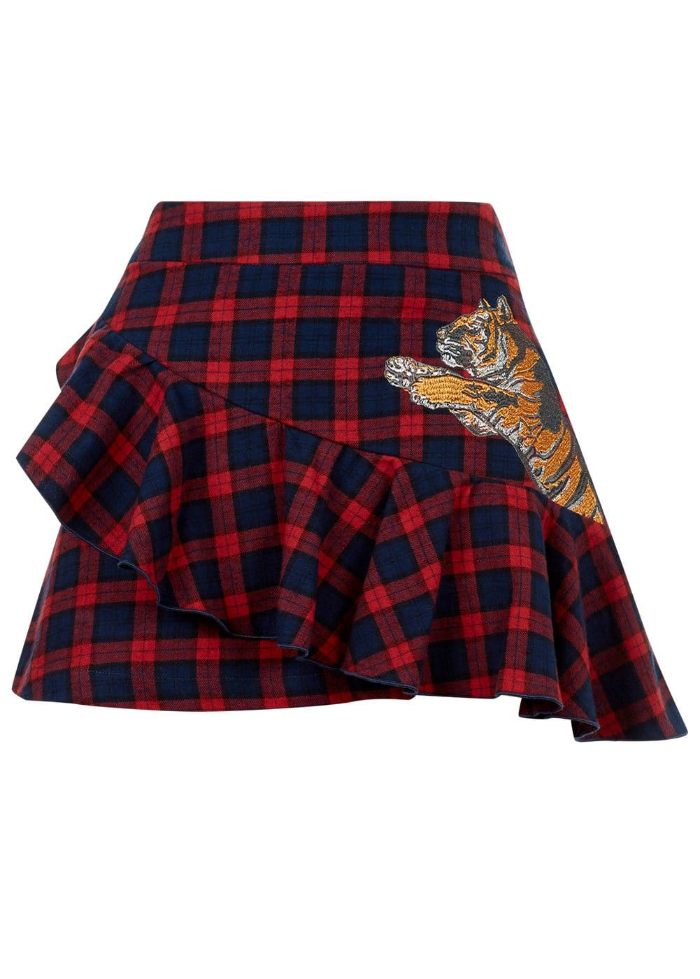 Girls Red Tartan Frilled Mini Skirt - Front