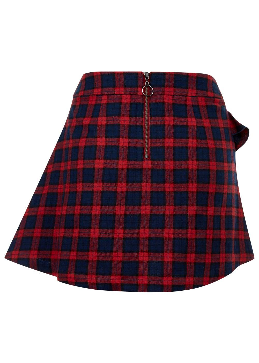 Girls Red Tartan Frilled Mini Skirt - Back