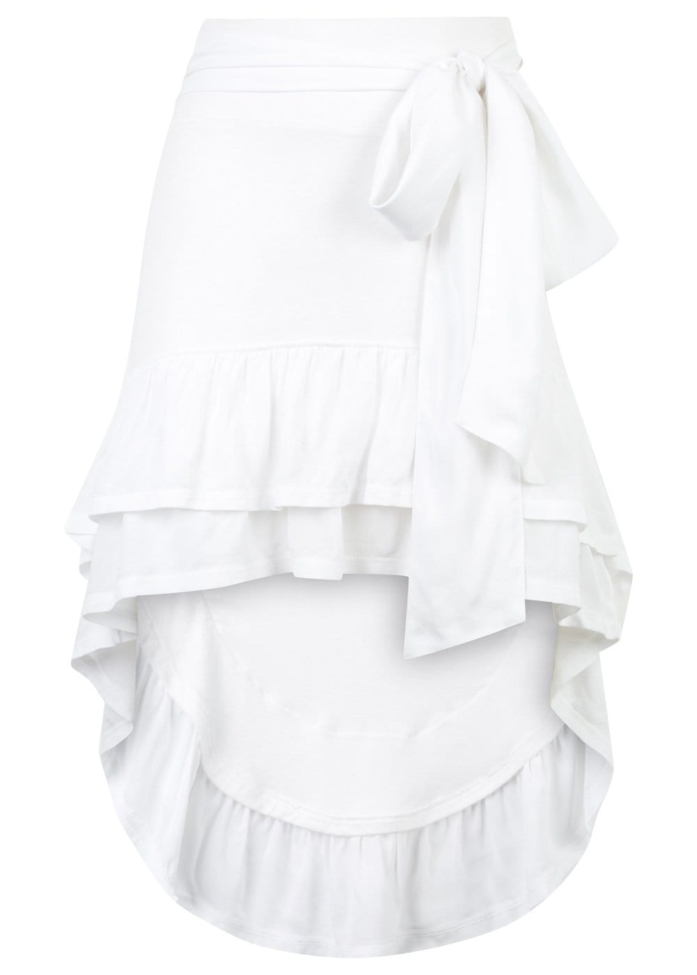 Girls White Ra-Ra Frilled Asymmetric Beach Skirt - Front
