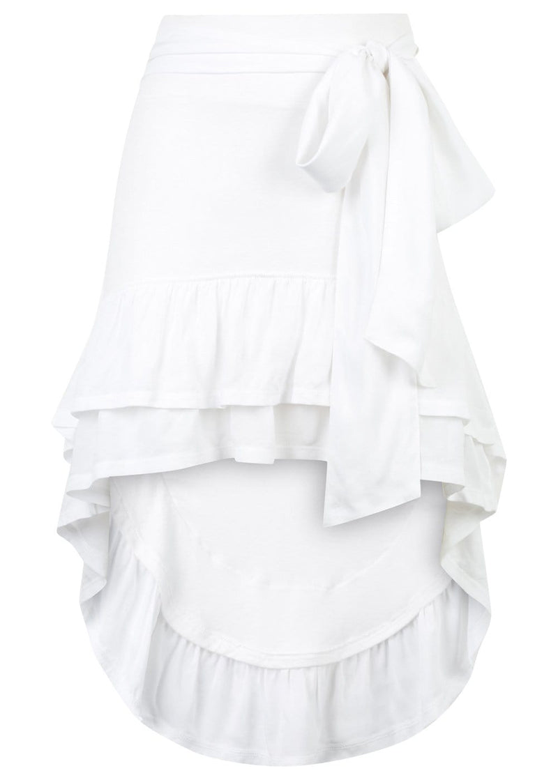 TeenzShop Youth Girls White, Frilled, Asymmetric Beach Skirt