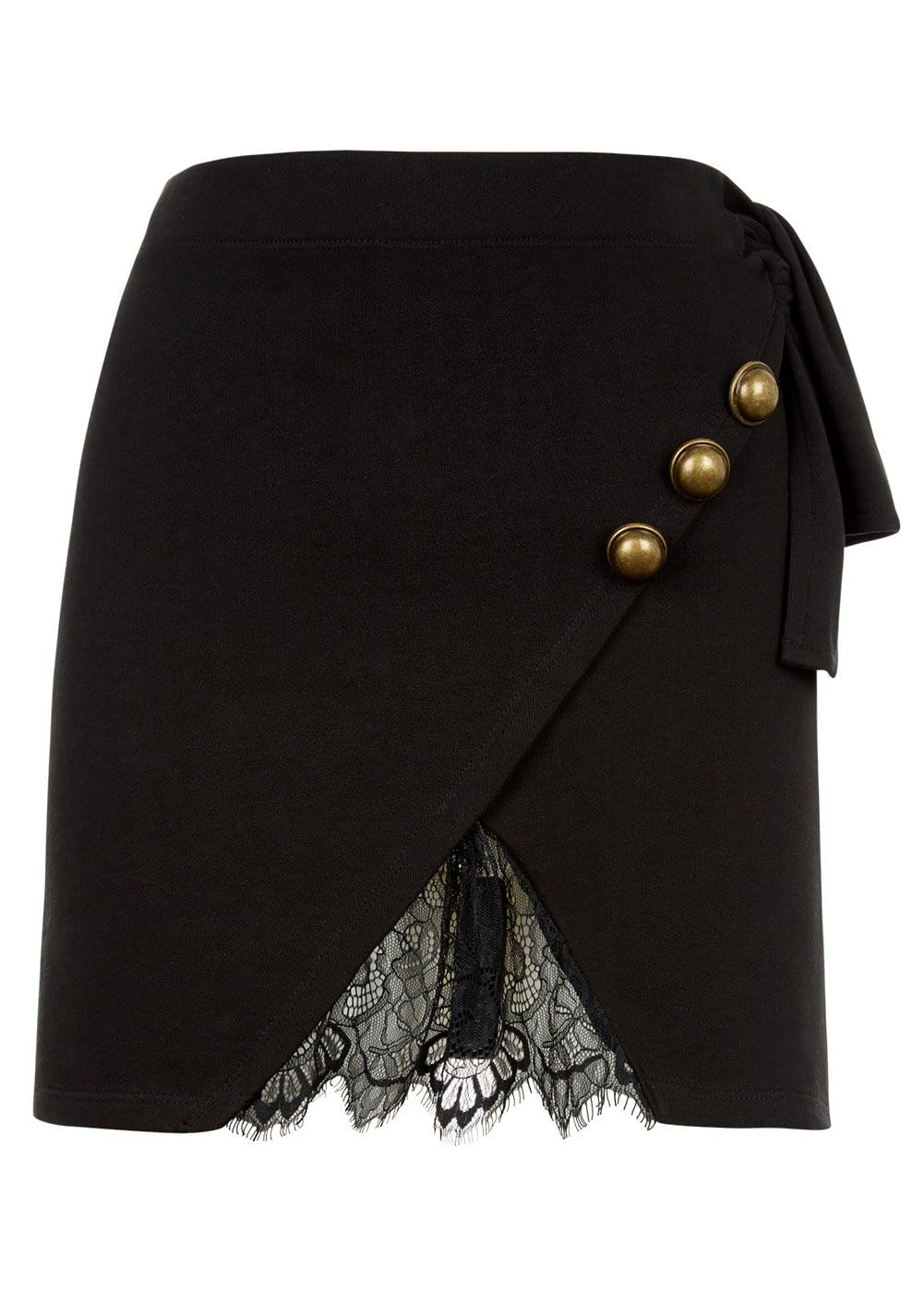 Girls Black Mini Skirt With Buttons And Lace Insert - Front