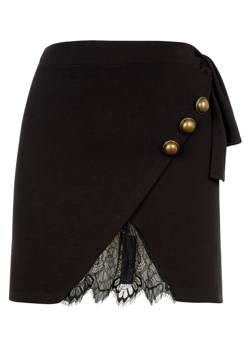 TeenzShop Youth Girls Black Mini Skirt With Buttons And Lace Insert