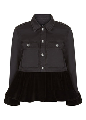 Teenzshop Youth Girls Twill and Velvet Jacket with Frills