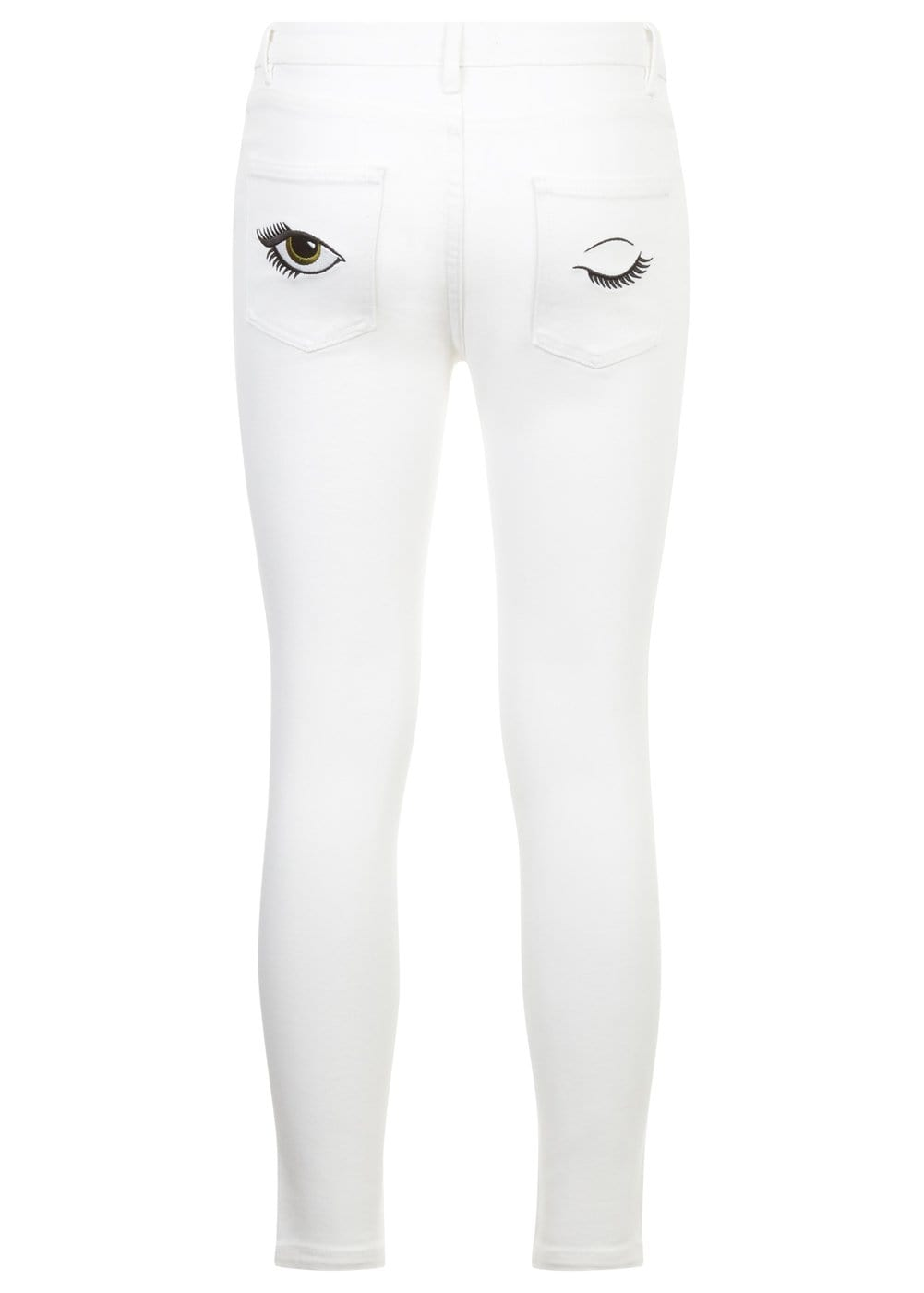 Girls White Skinny Jeans with Embroidered Eyes Pockets-Back