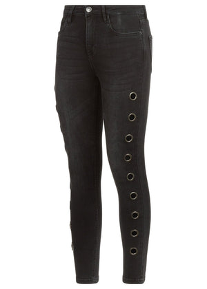 Teenzshop Youth Girls Black Skinny Jeans with Side Eyelets