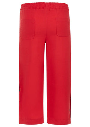 TeenzShop Youth Girls Red Cropped Trousers With Side Snaps