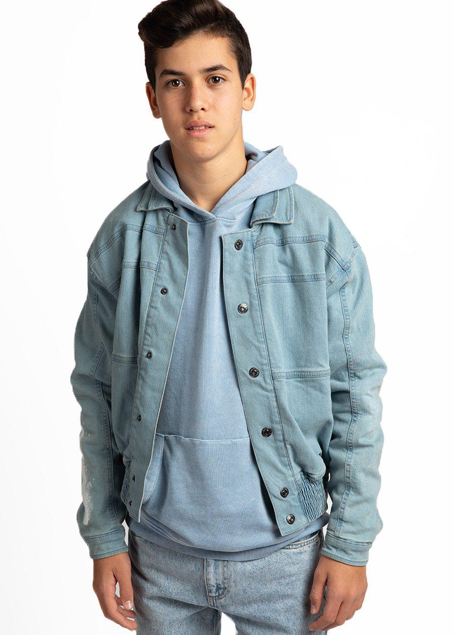 Youth Boys Denim 80's Elasticated Bomber Jacket