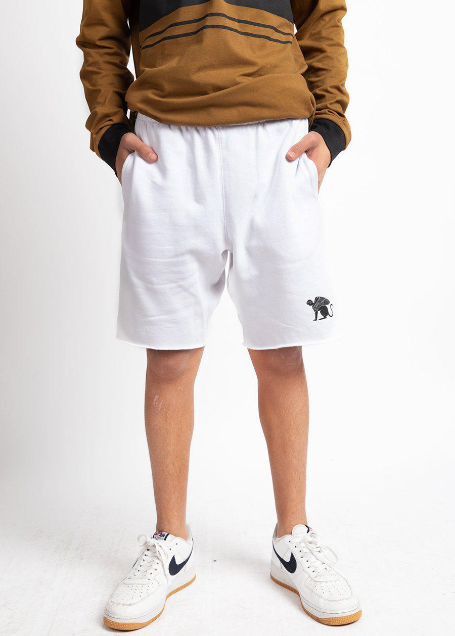 Boys White Sphinx Sweat Shorts-TeenzShop