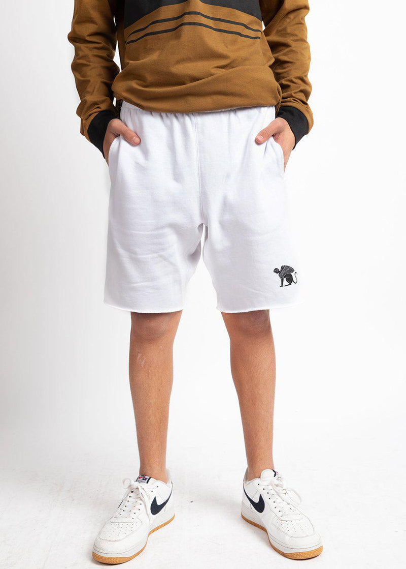 Youth Boys White Sphinx Sweat Shorts