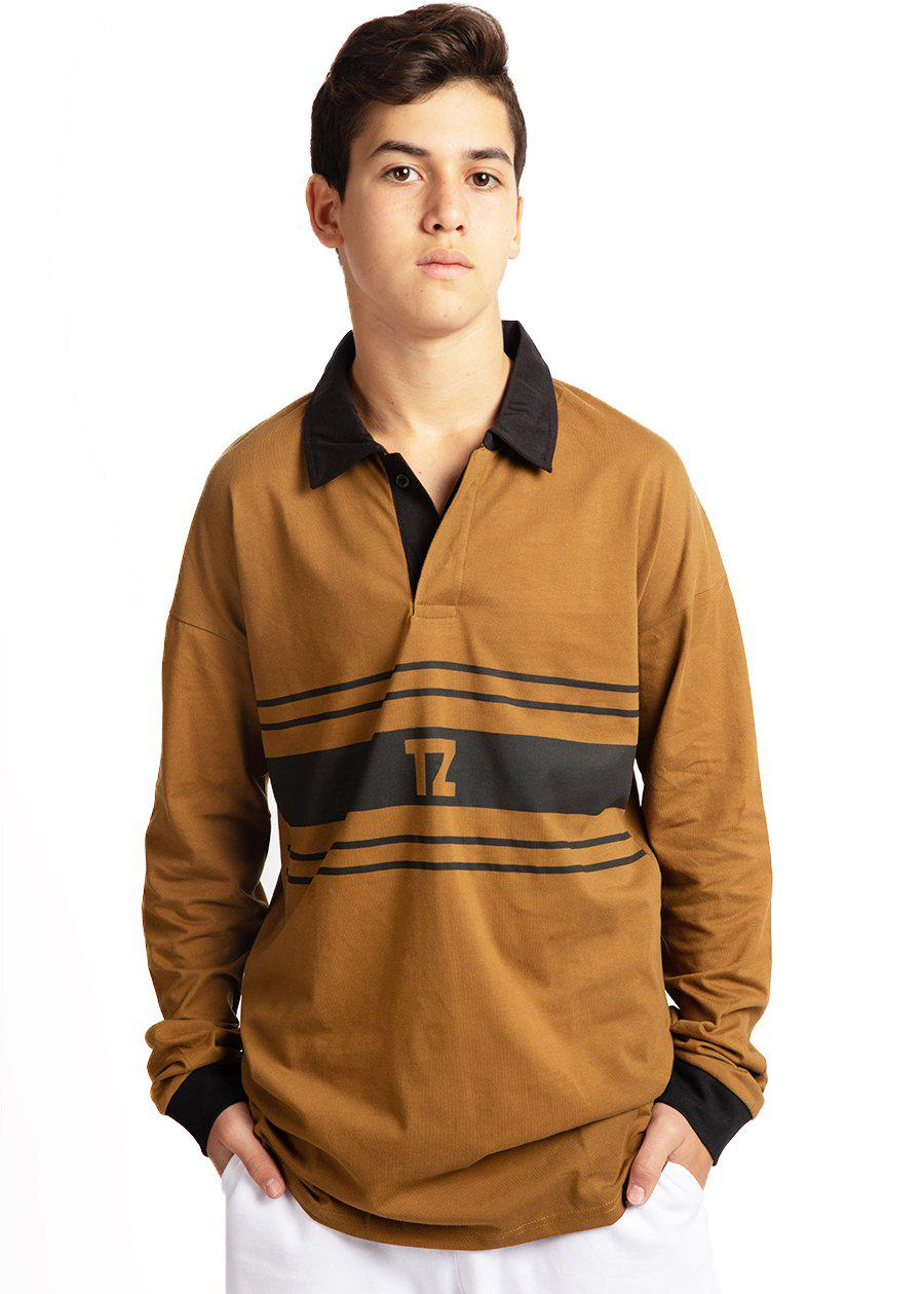 Boys Olive Long Sleeve Retro Polo Shirt-TeenzShop