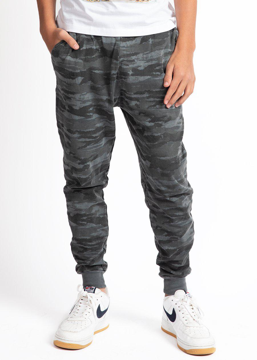 Boys Grey Camo Joggers With Logo-TeenzShop