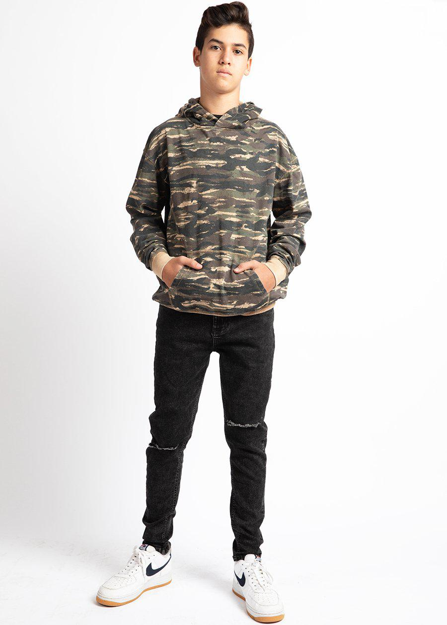 Boys Brown Distressed Camo Hoodie
