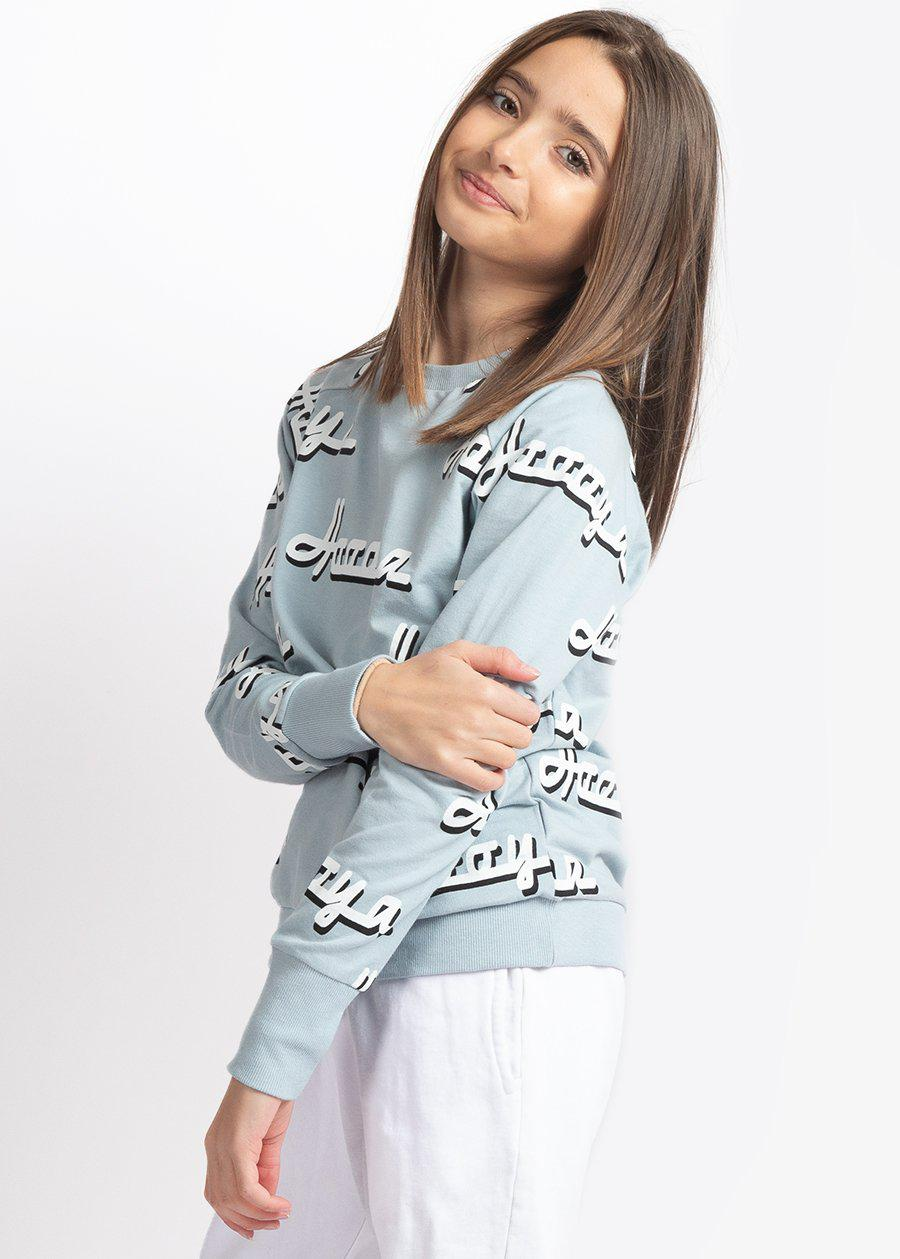 Girls Blue & White Hoooya Light Weight Sweatshirt