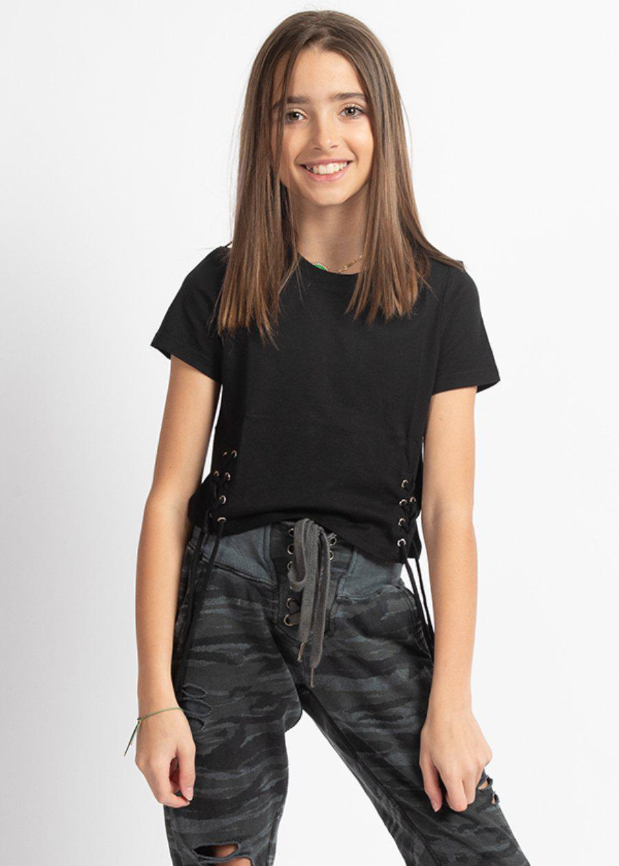 Girls Black Lace-Up Fitted T-Shirt-TeenzShop