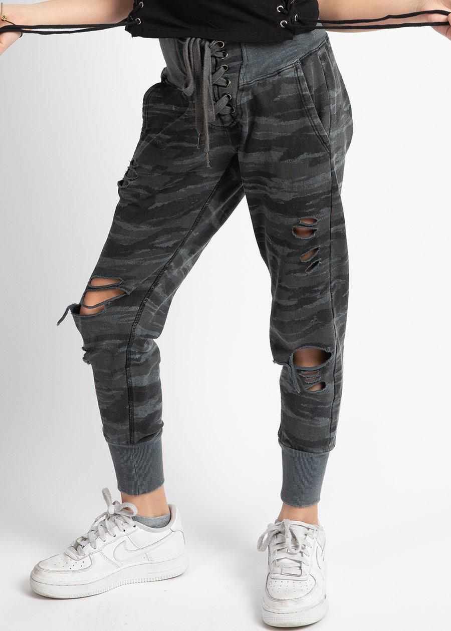 Girls Lace-up Camo ripped Joggers-TeenzShop