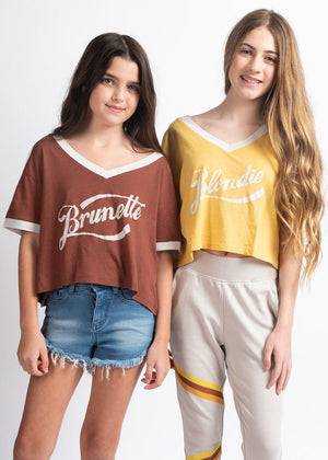 Youth Girls Brown Blondie-Brunette Retro T-shirt