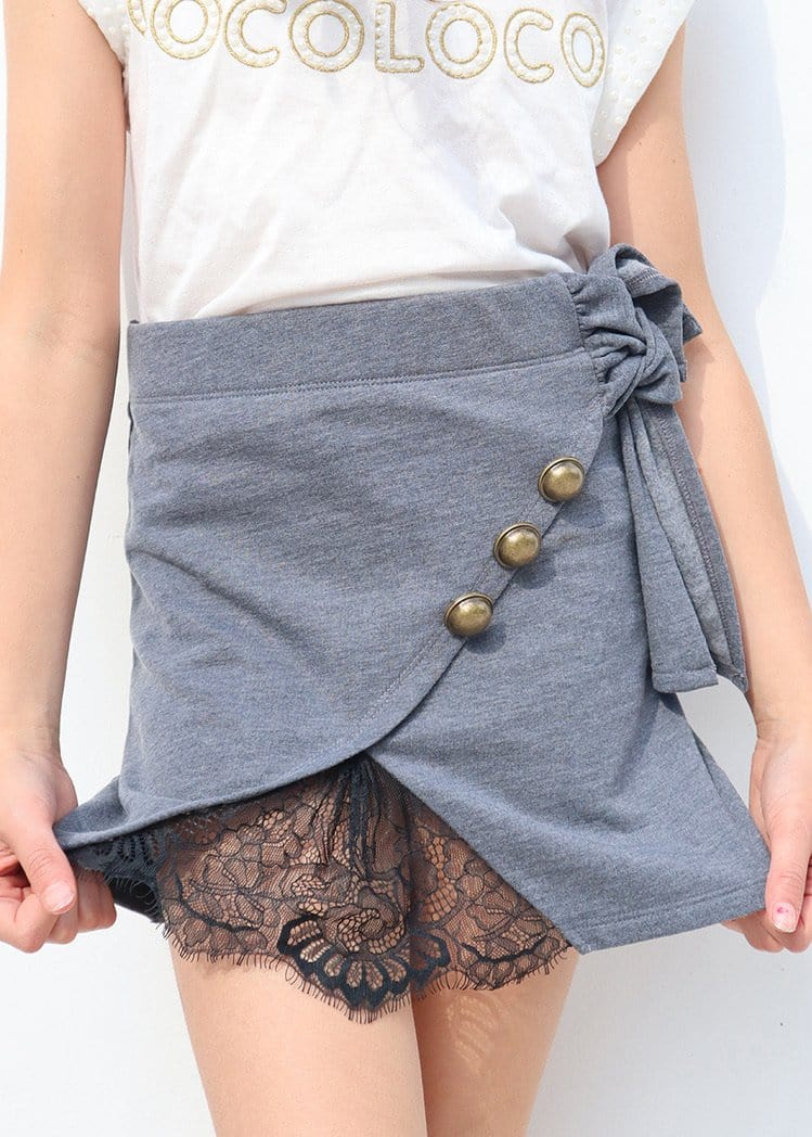 Youth Girls Blue Grey Mini Skirt With Buttons And Lace Insert