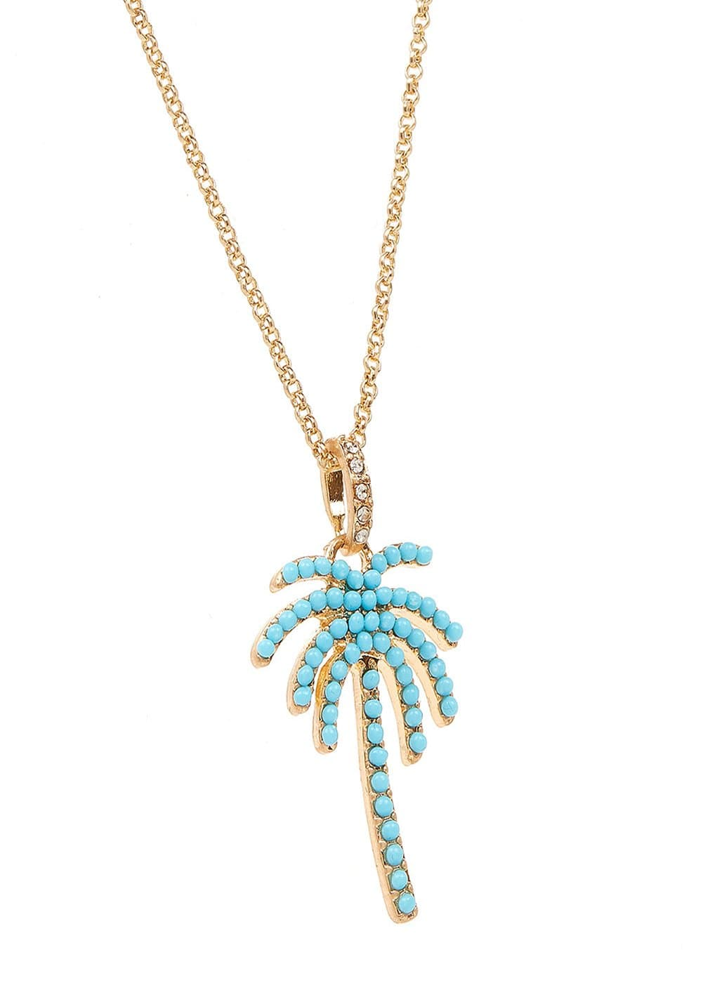Girls Turquoise Palm Tree Necklace-Detail