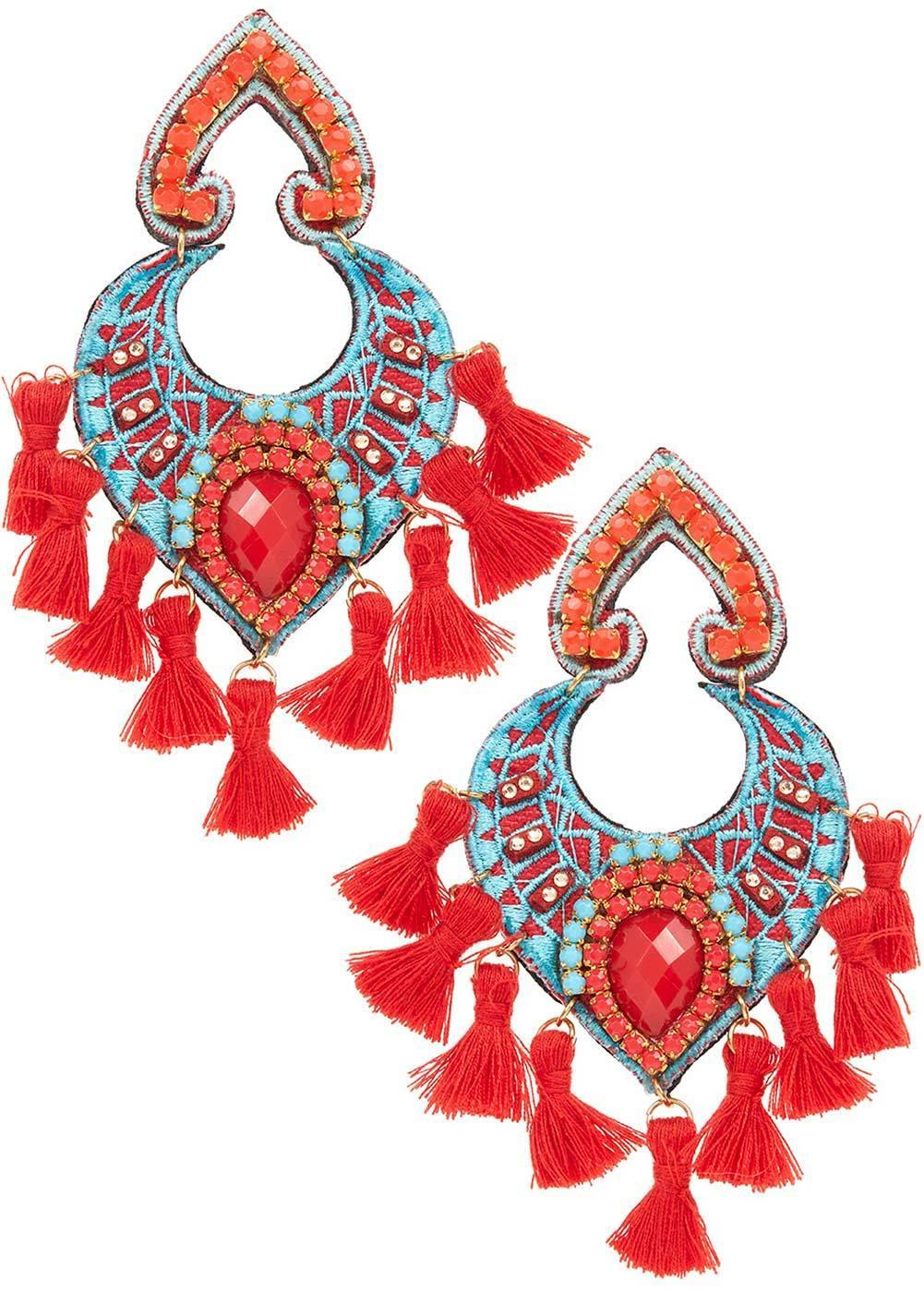 Girls Red & Turquoise Bead & Tassel Earrings-Front