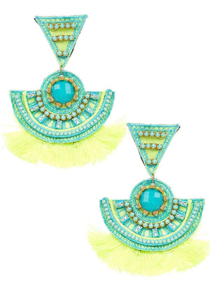 Girls Turquoise Chandelier Earrings-Front