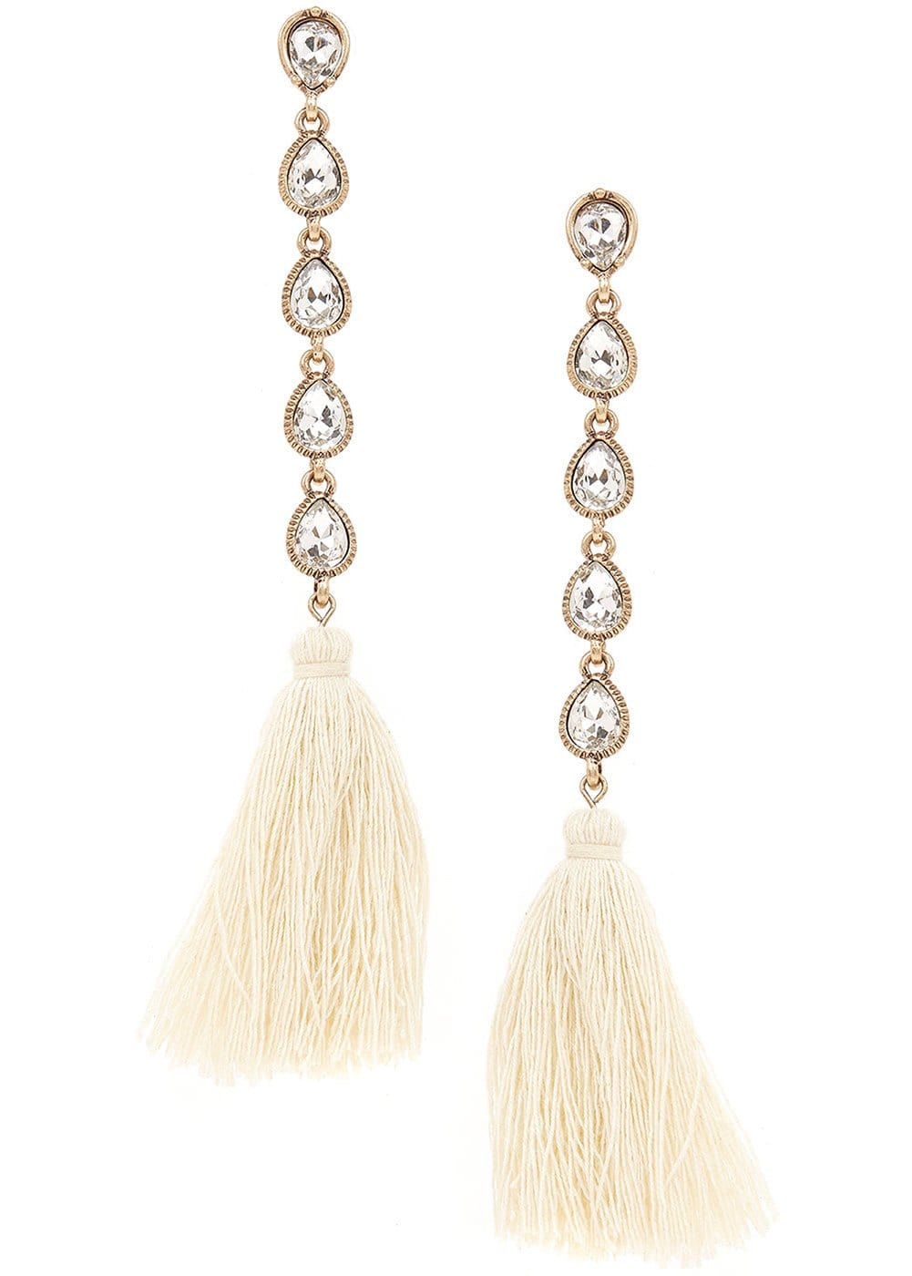 Girls White Crystal Drop Earrings-Front
