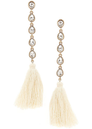 Crystal And Tassel Drop Earrings-TeenzShop
