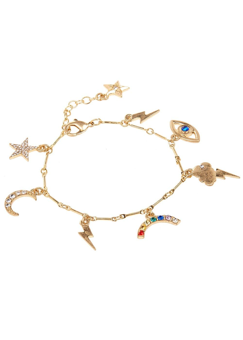Girls Gold Charm Anklet-Front