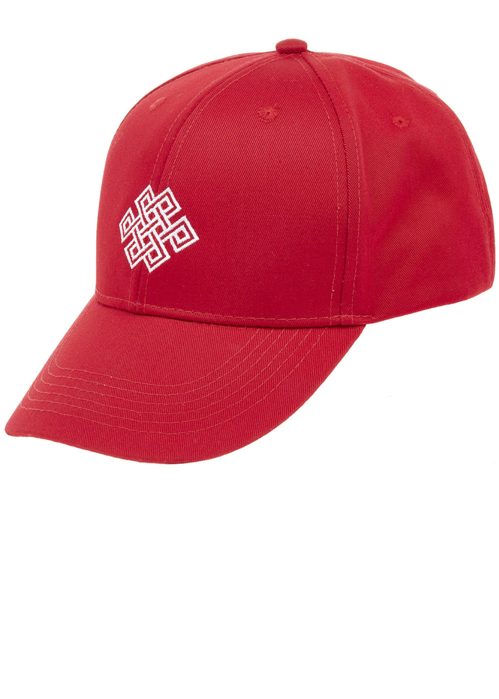 Boys Red Baseball Cap With Logo Embroidery - Front