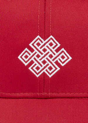 Boys Red Baseball Cap With Logo Embroidery-Detail