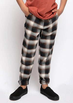 Brown and Cream Checkered Trousers