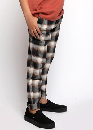 Boys Brown and Cream Checkered Trousers-TeenzShop