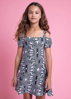 TeenzShop Youth Girls Geometric Print Cold Shoulder Cotton Skater Dress - SUSTAINABLE FABRIC